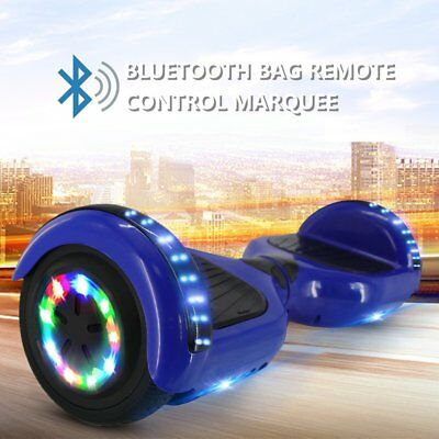 """HOVERBOARD 6.5"""" LUCI LED BLUETOOTH SPEAKER SCOOTER OVERBOARD MONOPATTINO Blu @RX"""