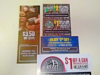 Grizzly Skoal & Copenhagen Coupons Smokeless Chewing Tobacco Dip Cans