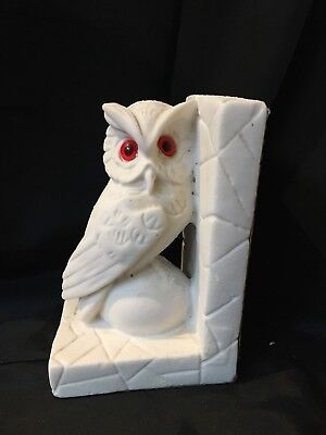 Vintage Hand Carved Alabaster Marble Owl Bookend Made in Italy