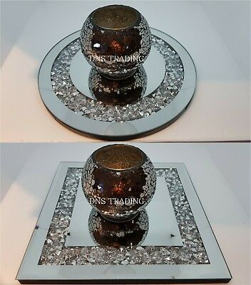 Jewelled Diamante Mirrored Candle Plate Crystal Wedding Party Round Square - Uk