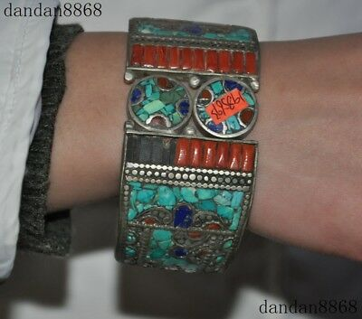 Old Tibet Temple Tibetan Silver inlay Coral Turquoise Amulet bracelet Bracelets