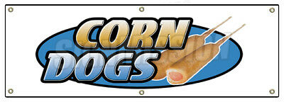 """72"""" CORN DOG BANNER SIGN hot dogs trailer cart signs on a stick fresh hot franks"""