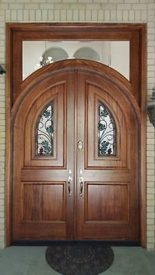 Knotty Alder Arched Double Entry Door With Glass Windows and no transom