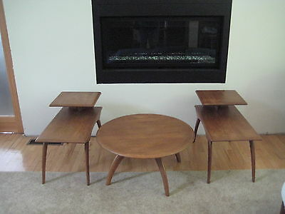 Midcentury Heywood Wakefield Pair Saber Leg End Tables &revolving Coffee Table