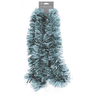 2m Chunky Pale Blue Tinsel - Xmas Tree Decoration,Holly Berry,Star Garland