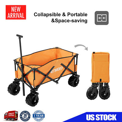 Collapsible Folding Utility Wagon Trolley Sports Outdoor Cart Camping Beach Yard