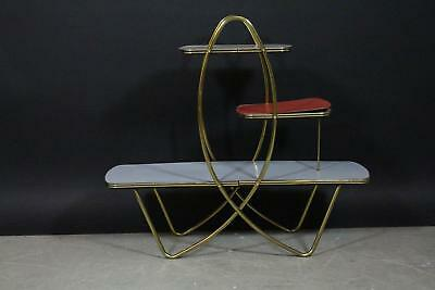 1950er Jahre Stand Regal Messing Holz (X618)