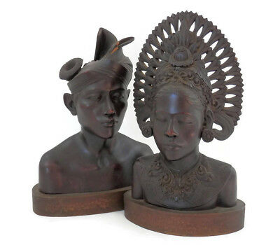 Pair Bali or Indonesian Princess and Prince Wooden Busts Tribal Arts Hand Carved