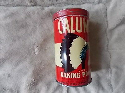 Vintage Red CALUMET Baking Powder General Foods 1 pound Can w/ Biscuit Recipe