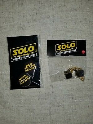 Solo A Star Wars Story Movie Promo  fan event Lucky Dice, Pins and mini posters