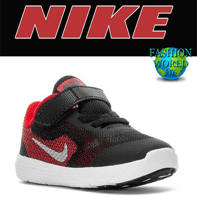 e24b8841d5e312 BOYS TODDLER NIKE REVOLUTION 3 Black Red Athletic Sneakers Shoes NEW ...