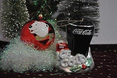2 Coca Cola  Christmas Ornaments Polar Bear and 2002 Ice Cold Coke Served Here