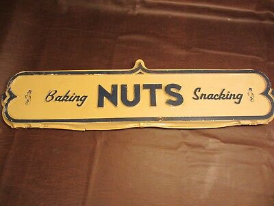 VINTAGE 1950s 60s PLANTERS NUTS BAKING SNACKING PLASTIC STORE ADVERTISING SIGN