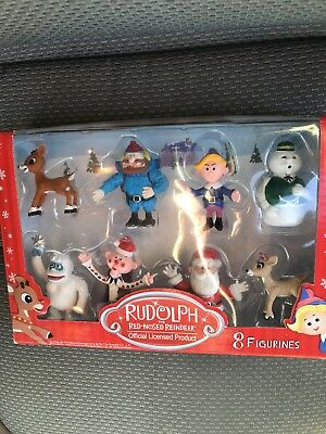 New Rudolph the Red-Nosed Reindeer Main Characters Set of 8 PVC Figurines