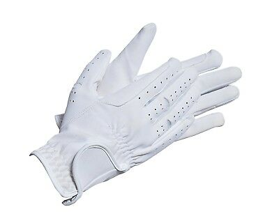 (X-Small, White) - Riders Trend Nubuck Suede Horse Equestrian Riding Gloves