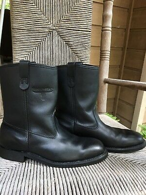 Vtg MASON SHOES Mens Black Leather Western Roper Boots #913 Made In USA Size 8D