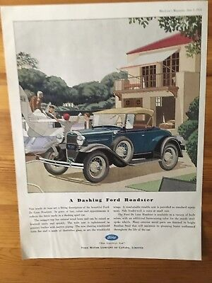 Rare 1931 Canadian Car Ad Ford Model A Canada Dashing New Roadster Art Deco
