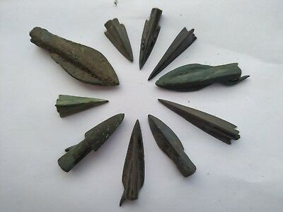 Lot Of 10 Ancient Bronze Arrow Head