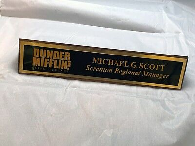 The Office Desk Name Plate Dwight Schrute Michael Scott Dunder Mifflin Scranton