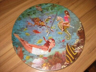 Vintage 1960s  round glass wall clock battery operated