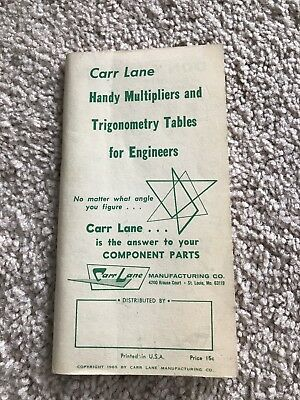 Carr Lane Handy Multipliers And Trigonometry Tables Book
