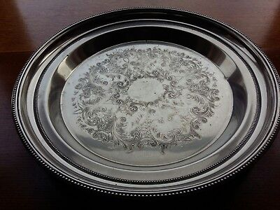 M&R Silver Plate On Brass Drinks Serving Tray (36cm)