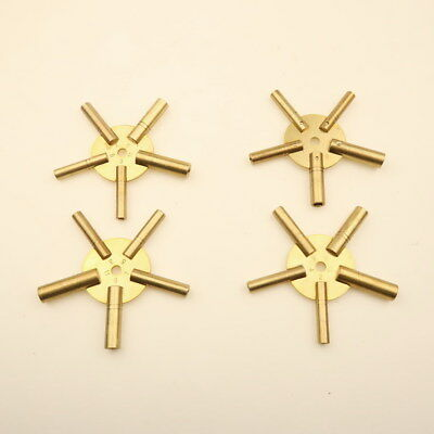 Set Of 4 Clock Winding Keys - All Sizes Brass Spider Star Pair - Odd And Even