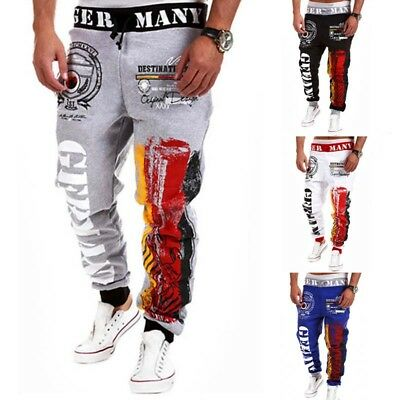 Men's Long Pants Graffiti Embroidery Trousers Color Matching Sports Cotton Loose