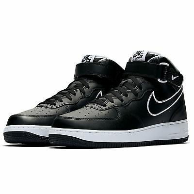 sale retailer cdfd0 44782 Mens Nike Air Force 1  07 Mid Leather Black White AQ8650 001 UK 12 EU