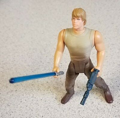 "Star Wars POTF Luke Skywalker Dagobah Fatigues 3.75"" Figure Complete Kenner 1996"