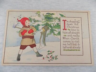 Arts & Crafts Christmas Postcard Poem Boy In Red Cap & Mittens Chopping Tree Ax