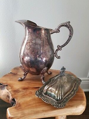 Silver on Copper Pitcher & Butter Dish sterling