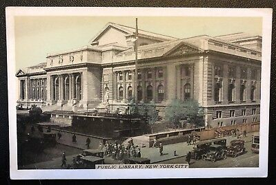 NY New York City- Public Library- Busy Town View- Fifth Ave- Lumitone Pub PC W4