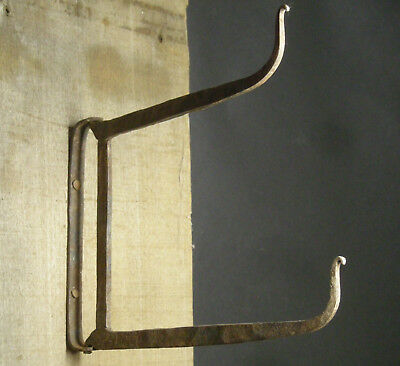19th c. Antique Hand Forged Wrought Iron Pivoting Double Beam Hooks, AAFA NR