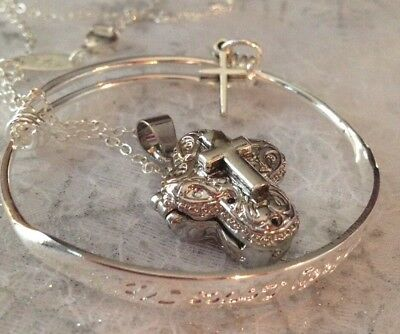 "Sterling Silver* Chain/925Bangle""sombody Loves Me""+crosslocket+Trinkets/giftbage"