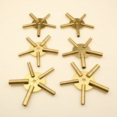 Set Of 6 Clock Winding Keys - All Sizes Brass Spider Star Pair - Odd And Even