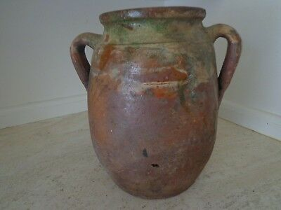 Antique 19Th Century Terracotta Redware French Confit Pot With Colorful Glaze