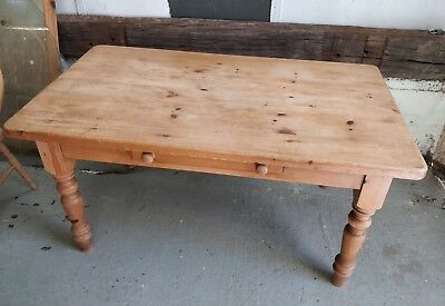 Solid Pine Farmhouse Kitchen Dining Table with Drawer