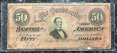 1864 $50 Confederate States Of America Csa Note In Good+ Condition! Nr!