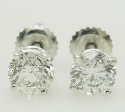 14K White Gold 2.01ctw H-SI2 Round Cut Natural Diamond 4-Prong Stud Earrings