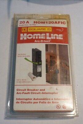NEW SQUARE D Homeline Arc D Tect AFIC Breaker Single Pole 20 Amp HOM120AFIC