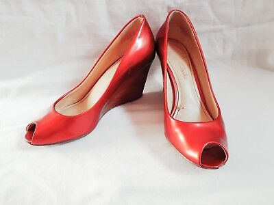 99d7d4f09f4b Ladies Clarks Patent leather Red Open Toe pumps Shoes With Wedge Heels Size  4