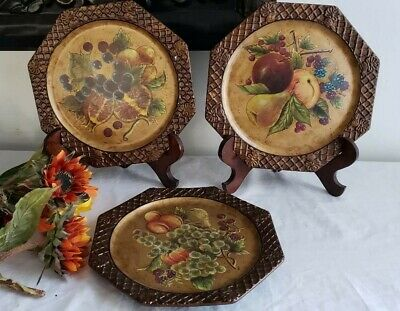 Octagon Shaped Decorative Metal Plates by Giftware Inc - Set of 3 - HARD TO FIND