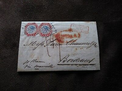 Genuine India Folded Letter with FORGERY 1854 x2 Inverted Head stamps tied!!!
