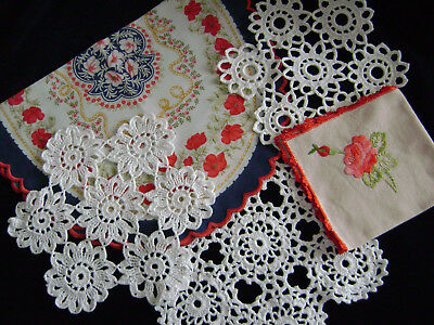 Lot Of 5 Beautiful Vintage Pieces, Crochet Embroidered And Printed
