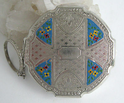 Enamel Finger Ring Compact Vintage Art Deco Powder Forget Me Not Chased Tooled