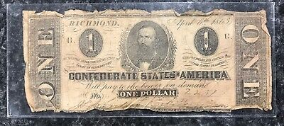 1863 $1 Confederate States Of America Csa Note In Poor Condition! Nr!