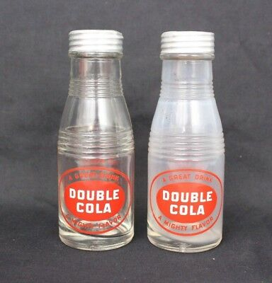 Set of 2 Vintage Double Cola Glass Salt & Pepper Shakers w/ Lids 5.25""