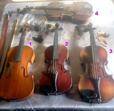 Lot of 4 vintage Violins in need of repairs and misc accessories