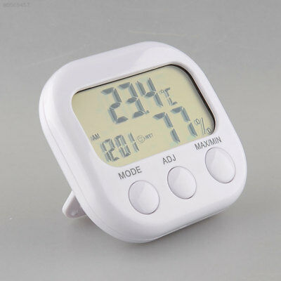 A99A New Digital LCD Thermometer Humidity Meter Hygrometer Moisture Clock White